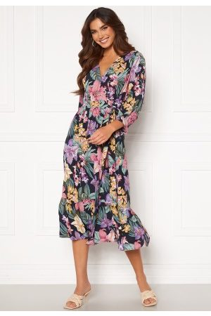Y.A.S Lio 3/4 Midi Wrap Dress Sky Captain Flower S