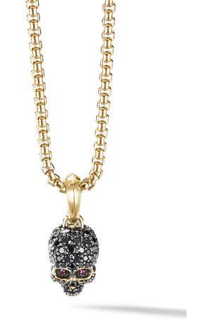 David Yurman Man Halsband - Diamantprydd amulett i 18K gult guld med dödskalle