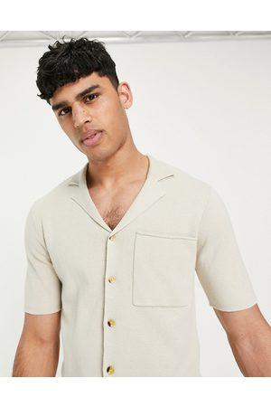 Only & Sons – Beige stickad skjorta med korta ärmar och platt krage