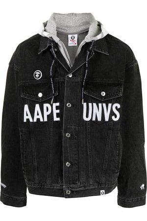 AAPE BY A BATHING APE Jeansjacka med huva och logotyp