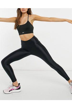 Reebok – Training – Svarta, högglansiga leggings med paneler och hög midja