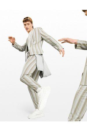 ASOS – Gräddvita randiga vardagsbyxor av bäckebölja i kostymstil med extra smal passform och muddar-Natur