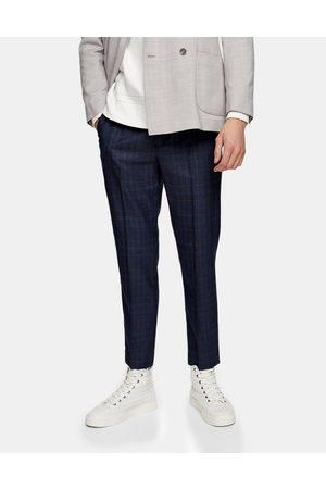 Topman – Marinblå rutiga mjukisbyxor med stretch och extra smal passform