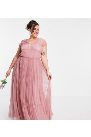 ASOS ASOS DESIGN Curve – maxiklänning i tyll med djup urringning och smockade ärmar-Pink