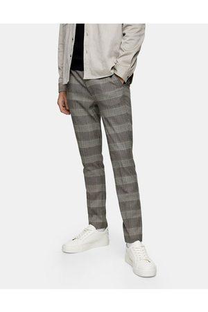 Topman – Naturfärgade rutiga byxor med stretch och extra smal passform