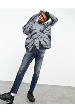 ASOS – Mörkblå skinny jeans i japansk vintagetvätt med råskuren fåll