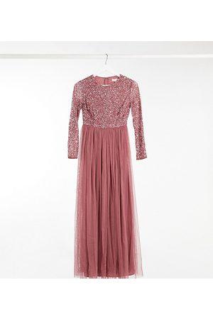 Maya – Rosfärgad långärmad maxiklänning med små paljetter och tyllkjol-Pink