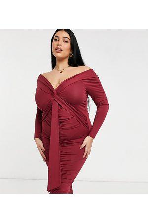 ASOS ASOS DESIGN Curve – Rödbrun midiklänning med bardotringning, långa ärmar och banddetalj