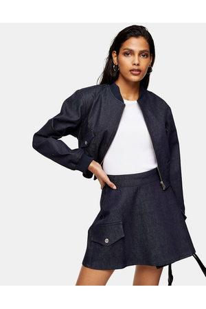 Topshop – Mellanblå jeanskjol i omlottmodell
