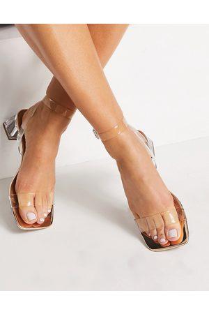 ASOS – Hope – Transparenta och roséguldfärgade sandaler med blockklack