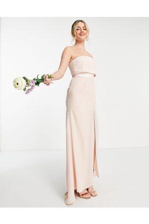 ASOS – Brudtärna – Maxiklänning i bandeau-modell med plisserad omlottkjoll-Pink
