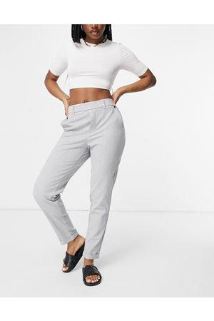 Vero Moda – Ljusgrå raka byxor med resår i midjan