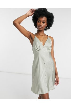 ASOS – Olivgrön slipklänning i minimodell och satin med knäppning och smala axelband