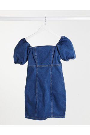 New Look – Mellanblå kort jeansklänning med puffärm