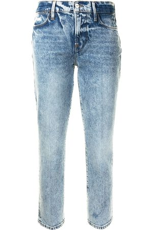 Frame Le High Straight jeans med blekt finish