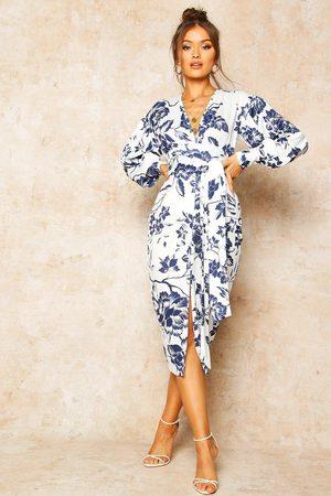 Boohoo Kvinna Midiklänningar - Blommig Midiklänning Med Låg Urringning Och Knytband, Blue