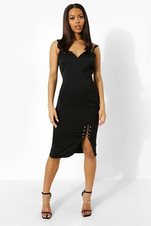 Boohoo Double Strap Plunge Midi Dress, Black