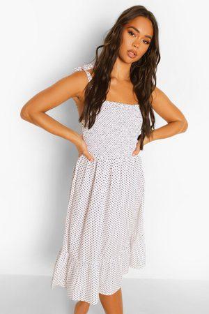 Boohoo Polka Dot Tie Strap Shirred Midi Dress, White
