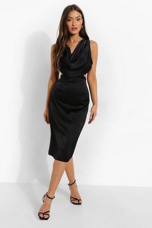 Boohoo Kvinna Maxiklänningar - Cowl Front Cut Out Midi Dress, Black