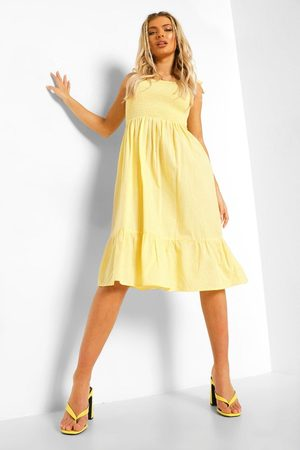boohoo Kvinna Midiklänningar - Tie Strap Shirred Bust Cotton Midi Dress, Yellow