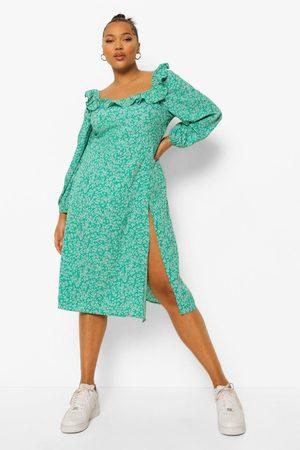 boohoo Plus Floral Print Square Neck Midi Dress, Green