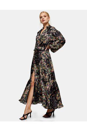 Topshop – Svart blommig maxiklänning med lång ärm-Olika färger