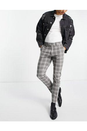 ASOS – skotskrutiga kostymbyxor i ylleblandning med extra smal passform