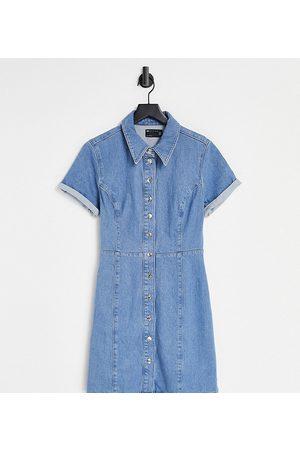 ASOS ASOS DESIGN Tall – Mellanblå figurnära skjortklänning i denim