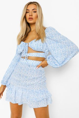 Boohoo Floral Cut Out Ruffle Skirt Co-Ord, Blue