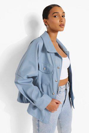 Boohoo Kvinna Jackor - Skjortjacka I Konstläder, Blue