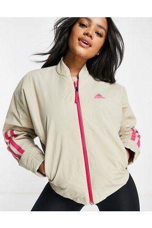 adidas Adidas – Outdoor – fleecejacka med kontrastfärgade detaljer-Neutral