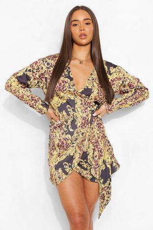 Boohoo Chain Print Satin Wrap Shirt Style Dress, Brown