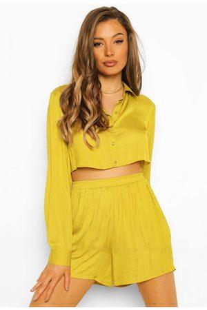 Boohoo Kvinna Festklänningar - Satin Cropped Shirt And Short Co-Ord, Yellow