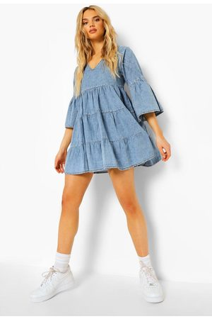 boohoo V Front Flared Sleeve Chambray Smock Dress, Blue