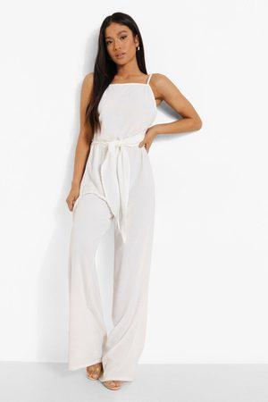 Boohoo Petite Linen Look Wide Leg Jumpsuit, White