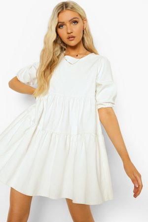 Boohoo Denim Puff Sleeve Smock Dress, White