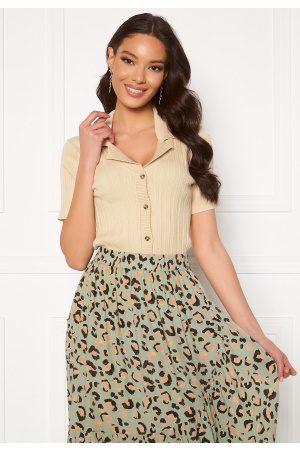 Object Kvinna Stickade tröjor - Amira S/S Knit Polo Cardigan Sandshell S