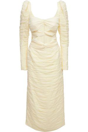 MAGDA BUTRYM Stretch Silk Midi Dress W/ Knot Detail