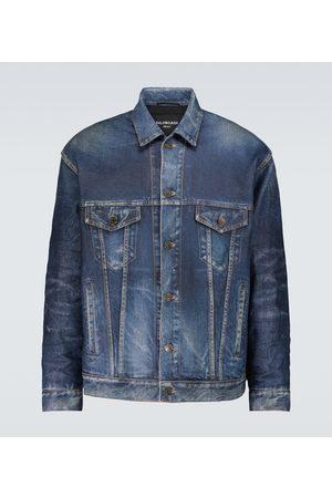 Balenciaga Denim-effect printed leather jacket