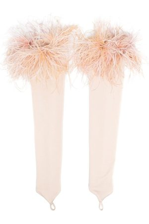 LOULOU Feather-trimmed fingerless gloves
