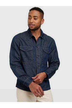 Selected Homme Man Jeansskjortor - Slhandy 6270 Dark Blue Denim Jacket Skjorta Dark Blue Denim