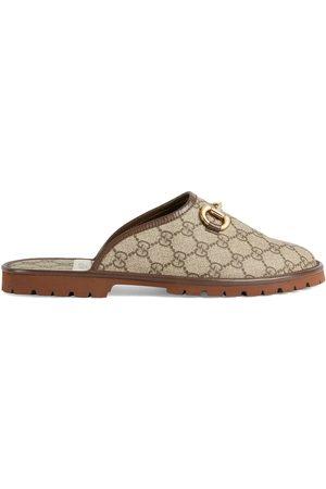 Gucci GG monogram horsebit-detail slippers