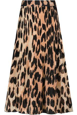 Ganni Kvinna Mönstrade kjolar - Leopard-print georgette midi skirt