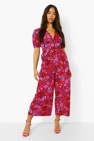 Boohoo Floral V Neck Puff Sleeve Wide Leg Jumpsuit, Red