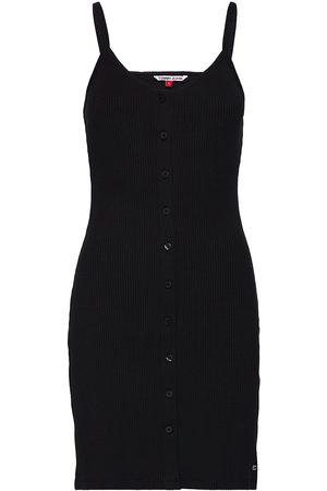 Tommy Jeans Kvinna Festklänningar - Tjw Button Thru Rib Dress Kort Klänning