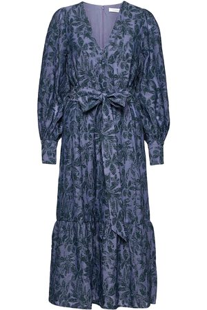 Ivy & Oak Kvinna Klänningar - Puffy Sleeve Dress Midilength Dresses Everyday Dresses Lila