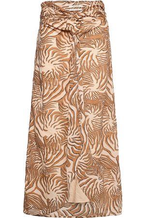 Scotch&Soda Organic Cotton Printed Skirt With Knot Detail Knälång Kjol Brun