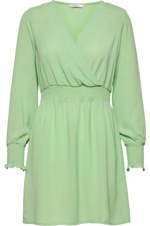 ONLY Kvinna Festklänningar - Onlnova Lux L/S V-Neck Smock Dress Solid Kort Klänning Grön