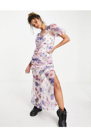 ASOS – Mönstrad maxiklänning med rynkning