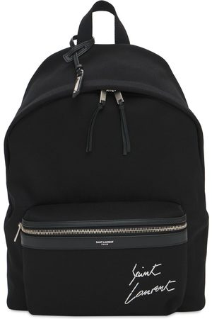 Saint Laurent Logo Embroidery Cotton Canvas Backpack